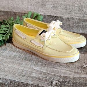 Lemon yellow sequin Sperry  top Sider boat shoes